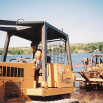 Phil Bush crossing the Portage Shipping Canal in Houghton, Michigan. Circa 2004.