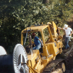 Is plowing downhill easier? Circa mid-1980s.